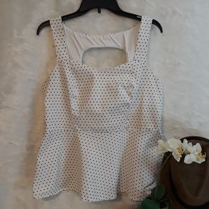 TORRID black and white poka dot peplum top
